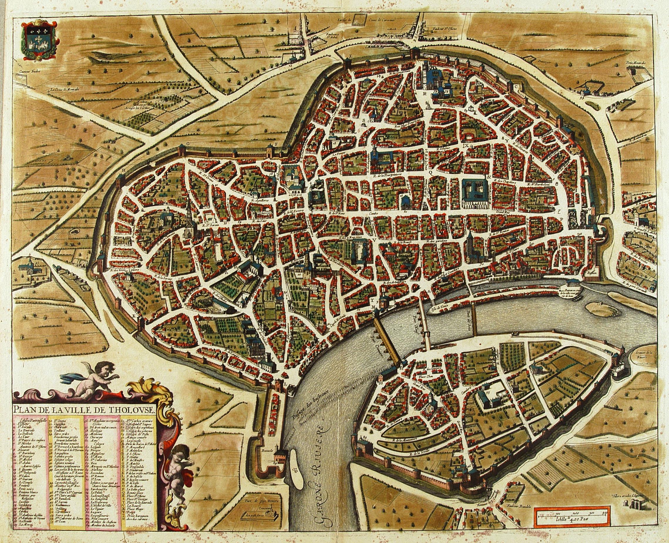 Plan De La Ville De Toulouse En Couleur Inspirée Du Plan Tavernier. 1631.  Plan