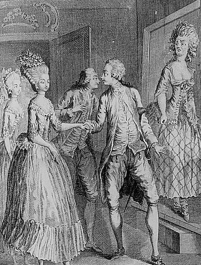 """Nicolas-Edmé Restif de la Bretonne, Les Contemporaines ou Aventures des plus jolies femmes de l'âge présent. Dessin de Louis Binet, gravé par Berthet et Pépin. BnF-Impr. microfilm R.21014-21018, R21734-21739, R 23879-23884 (ici: Vol. XIV. 81e nouvelle. p. 534 : «Le bigame». La jeune paysanne vient d'épouser le bigame. En rentrant, ce dernier voit le portrait de son épouse, que son valet a fait peindre exprès pour lui donner un objet de comparaison et dit : """"C'est le portrait de ma femme!"""")"""
